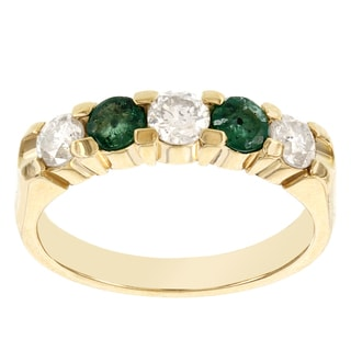 H Star 14k Yellow Gold 5-stone Emerald and Diamond Anniversary Band (H-I, I1-I2)
