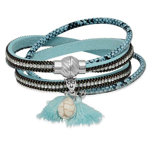 Two-in-One Sky Blue Wrap Cubic Zirconia Bracelet/Choker/Necklace
