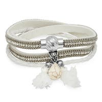 Piatella Ladies 2-in-1 White Wrap Cubic Zirconia Bracelet/Choker Necklace