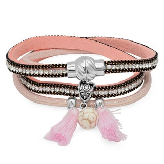 Pink Leather Cubic Zirconia Two in One Wrap Bracelet/Choker Necklace