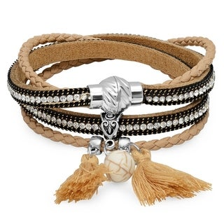 Two in One Brown Wrap Cubic Zirconia Bracelet/Choker Necklace
