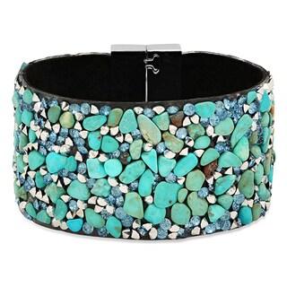 Black Velvet Blue Agate Cubic Zirconia Bracelet