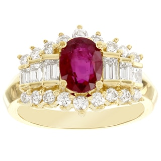 H Star 18k Yellow Gold 1.38ct Ruby and 1ct Diamond Cocktail Ring (G-H, SI1-SI2)