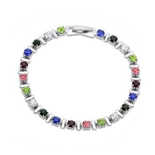 Silvertoned Multicolored Cubic Zirconia Bracelet