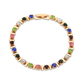 18k Gold Plated Cubic Zirconia Multicolored Bracelet