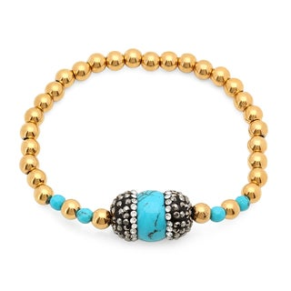 18k Gold-plated Cubic Zirconia and Agate Charm Bracelet