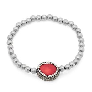 Silvertoned Cubic Zirconia Coral Charm Bracelet