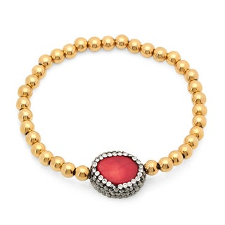 18k Goldplated CZ Coral Charm Bracelet