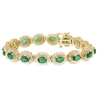 H Star 14k Yellow Gold 5ct Emerald and 4ct TDW Diamond Bracelet (I-J, I1-I2)