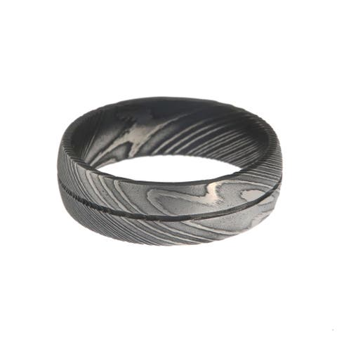 Men's Two-toned Damascus Steel 7-millimeter Acid-etched Ring