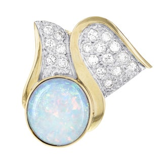 H Star 14k Yellow Gold Blue Fire Opal and 1/2ct TDW Diamond Enhancer (G-H, SI1-SI2)