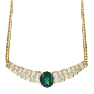 H Star 18k Yellow Gold 2ct TDW Diamond and 3 5/8ct Emerald Necklace (H-I, SI1-SI2)