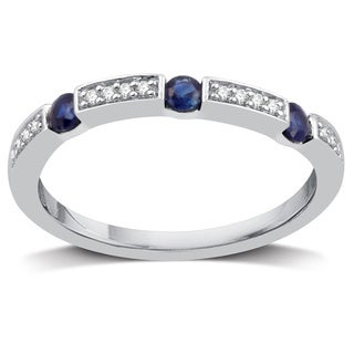 Sterling Silver 1/10ct TDW Diamond and Sapphire Wedding Band