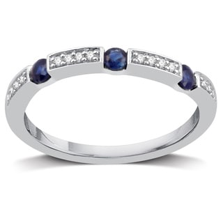 Sterling Silver 1/10ct TDW Diamond and Sapphire Wedding Band - White I-J