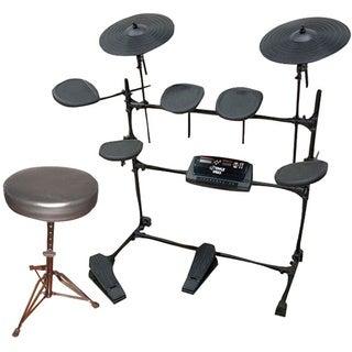 Pyle KTMUPK02 Electric Thunder Drum Kit With MP3 Recorder + Round Padded Keyboard Bench.
