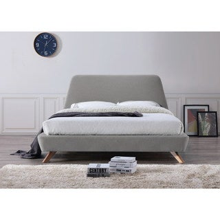 Henry Mid Century Modern Upholstered Queen Size Platform Bed