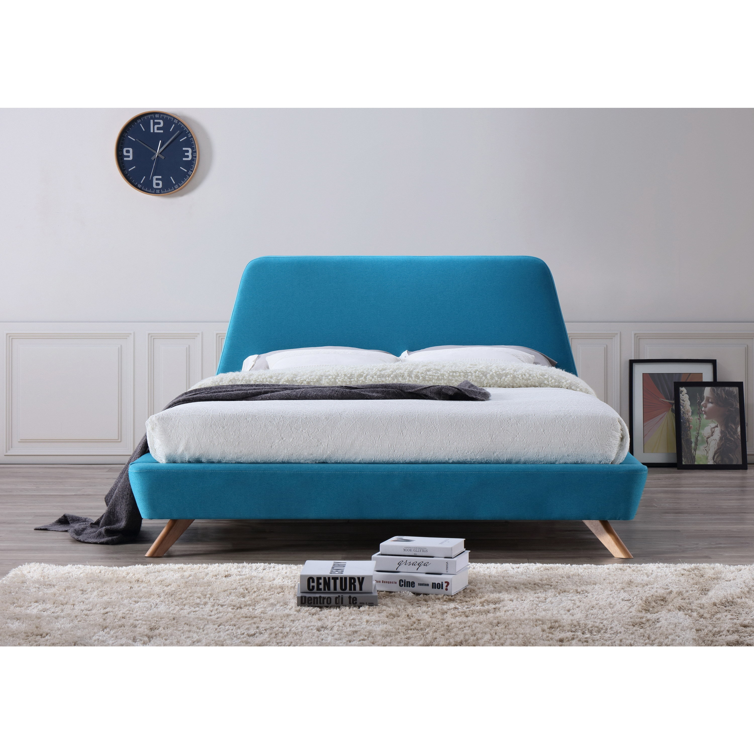 Henry Mid-Century Modern Upholstered Queen-Size Platform Bed - Free ...