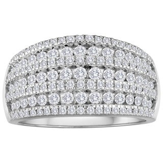 10K White Gold 1ct TDW Diamond Cluster Wedding Band (I-J, I2)