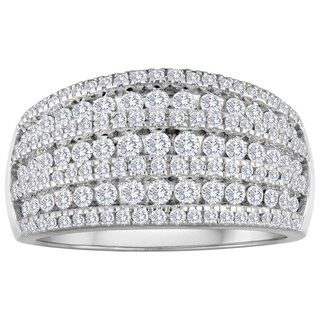 10K White Gold 1ct TDW Diamond Cluster Wedding Band - White I-J