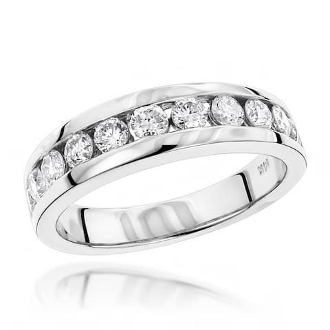 Luxurman 14k Gold Men's 1 1/10ct TDW Diamond Wedding Ring