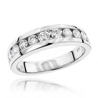 Luxurman 14k Gold Men's 1 1/10ct TDW Diamond Wedding Ring (H-I, SI1-SI2)