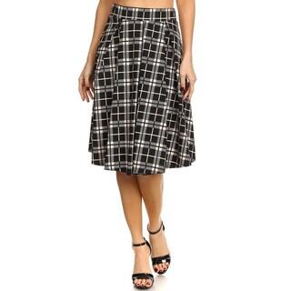 Women's Black Rayon-blend Casual Plaid Skirt