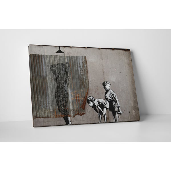 Banksy 'Pipping Boys' Gallery Wrapped Canvas Wall Art - Grey/white