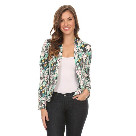 Women's Multicolor Polyester and Spandex Floral Blazer Jacket