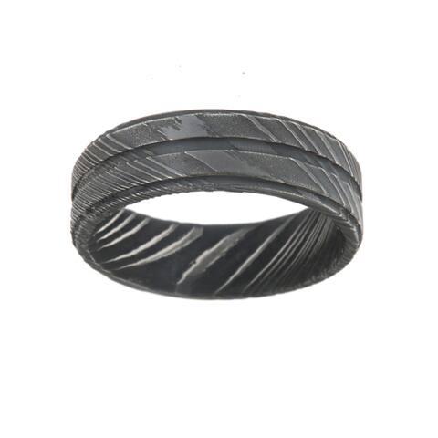 Men's Damascus Steel 7-millimeter Wedding Ring Engagement Band