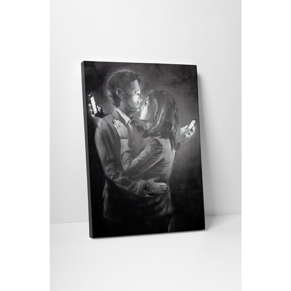 Banksy 'Mobile Lovers' Black/White Gallery Wrapped Canvas Wall Art