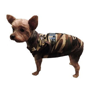 L and C Puppy Co Puppy Army Camo Cotton Shirt with Dog Tag