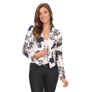 Women's Polyester and Spandex Floral Blazer Jacket