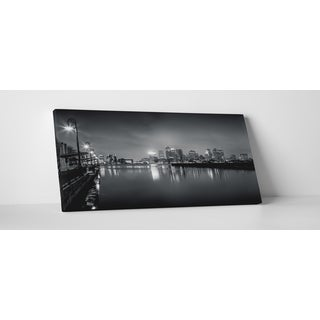 City Skylines 'Boston Massachusetts Black and White' Gallery Wrapped Canvas Wall Art