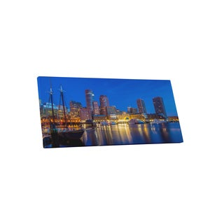 City Skylines 'Boston Night' Gallery-wrapped Canvas Wall Art