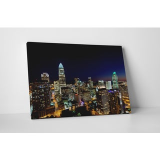 City Skylines 'Charlotte Night' Gallery Wrapped Canvas Wall Art