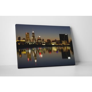 City Skylines 'Indianapolis, Indiana Night' Gallery-wrapped Canvas Wall Art