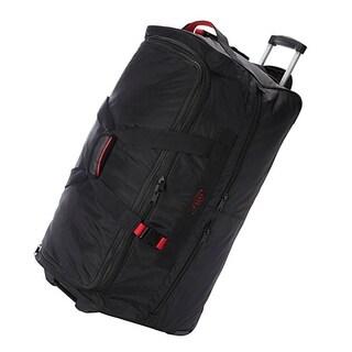 A. Saks Black Ballistic Nylon 25-inch Expandable Rolling Duffel Bag