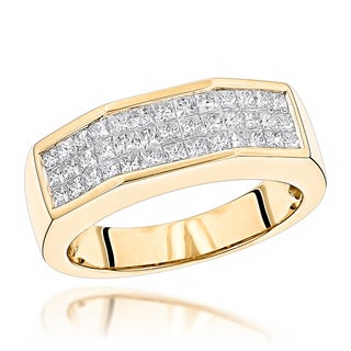 Luxurman 14k Gold 1 1/2ct TDW Princess-cut Diamond Men's Ring