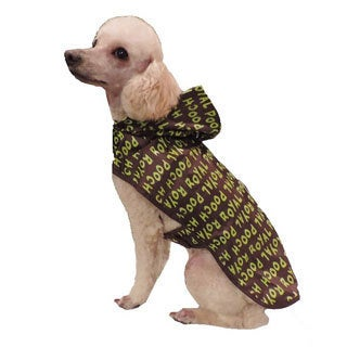 L C Puppy-Ro Lime Green and Brown Reflective 3-piece Dog Raincoat Set