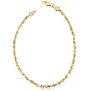 Fremada Unisex 14k Yellow Gold 2.5-mm Solid Rope Chain 7.5 or 8.5-inch Bracelet