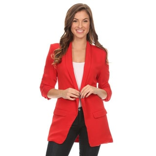 Women's Solid Long Body Blazer Jacket