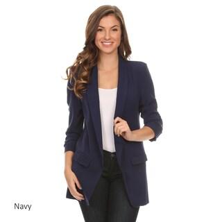 Women's Solid Long Body Blazer Jacket