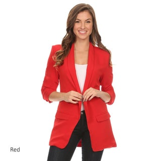 Women's Solid Long Body Blazer Jacket (Option: Red - S)