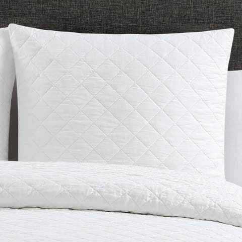 Quilted Washed Belgian Linen Euro Shams (Set of 2)