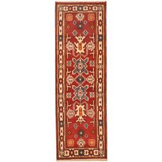 Herat Oriental Indo Hand-knotted Tribal Kazak Wool Rug (2'1 x 6'8)