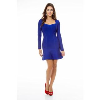Sara Boo Women's Blue A-line Bandage Dress