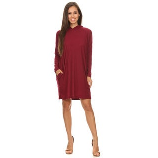 Women's Solid Polyester, Rayon, Spandex Tunic Dress with Hoodie