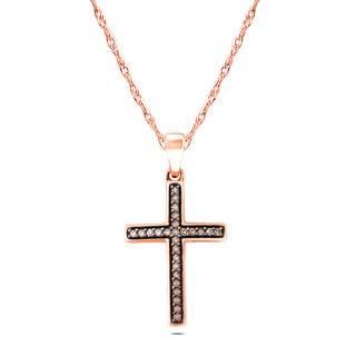 10k Rose Gold 1/6ct TDW Champagner Diamond Pendant Necklace (I1-I2 , )