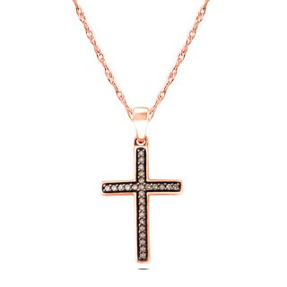10k Rose Gold 1/6ct TDW Champagner Diamond Pendant Necklace