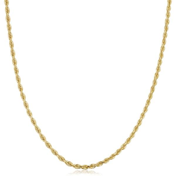 19f4ffc8b0313 Shop Fremada Unisex 14k Yellow Gold 2.5-mm Solid Rope Chain 16 - 36 ...